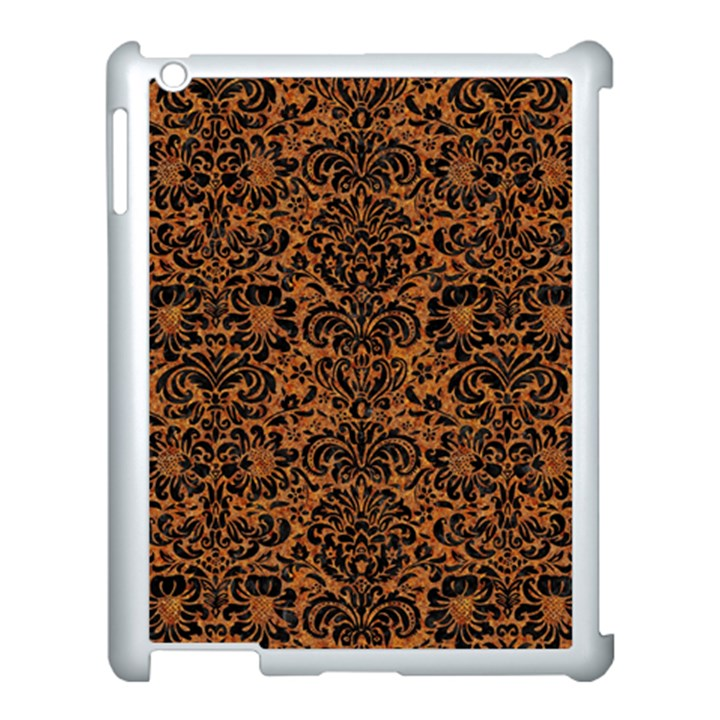DAMASK2 BLACK MARBLE & RUSTED METAL Apple iPad 3/4 Case (White)