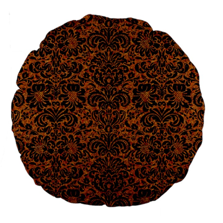 DAMASK2 BLACK MARBLE & RUSTED METAL Large 18  Premium Round Cushions