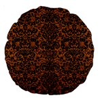 DAMASK2 BLACK MARBLE & RUSTED METAL Large 18  Premium Round Cushions Back