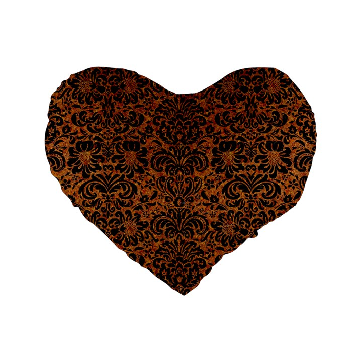 DAMASK2 BLACK MARBLE & RUSTED METAL Standard 16  Premium Heart Shape Cushions