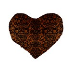 DAMASK2 BLACK MARBLE & RUSTED METAL Standard 16  Premium Heart Shape Cushions Back