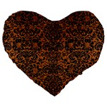 DAMASK2 BLACK MARBLE & RUSTED METAL Large 19  Premium Heart Shape Cushions Front