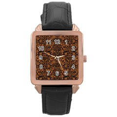 Damask2 Black Marble & Rusted Metal Rose Gold Leather Watch