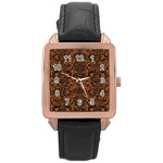 DAMASK2 BLACK MARBLE & RUSTED METAL Rose Gold Leather Watch  Front