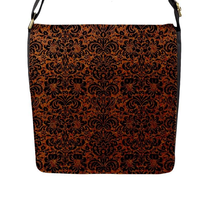DAMASK2 BLACK MARBLE & RUSTED METAL Flap Messenger Bag (L)