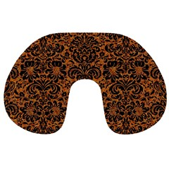 Damask2 Black Marble & Rusted Metal Travel Neck Pillows