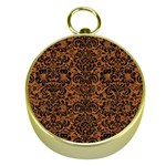 DAMASK2 BLACK MARBLE & RUSTED METAL Gold Compasses Front