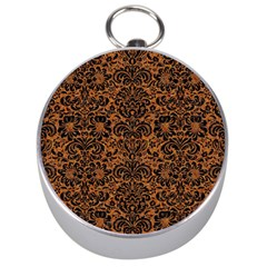 Damask2 Black Marble & Rusted Metal Silver Compasses