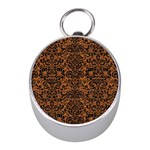 DAMASK2 BLACK MARBLE & RUSTED METAL Mini Silver Compasses Front
