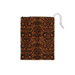 DAMASK2 BLACK MARBLE & RUSTED METAL Drawstring Pouches (Small)  Front