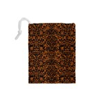 DAMASK2 BLACK MARBLE & RUSTED METAL Drawstring Pouches (Small)  Back