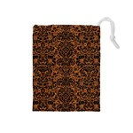 DAMASK2 BLACK MARBLE & RUSTED METAL Drawstring Pouches (Medium)  Front