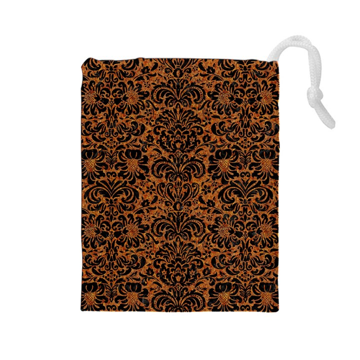 DAMASK2 BLACK MARBLE & RUSTED METAL Drawstring Pouches (Large)