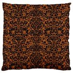 DAMASK2 BLACK MARBLE & RUSTED METAL Large Flano Cushion Case (Two Sides) Back