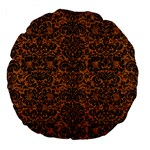 DAMASK2 BLACK MARBLE & RUSTED METAL Large 18  Premium Flano Round Cushions Front