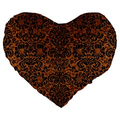 Damask2 Black Marble & Rusted Metal Large 19  Premium Flano Heart Shape Cushions
