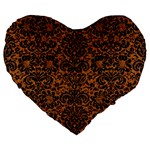 DAMASK2 BLACK MARBLE & RUSTED METAL Large 19  Premium Flano Heart Shape Cushions Front