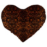 DAMASK2 BLACK MARBLE & RUSTED METAL Large 19  Premium Flano Heart Shape Cushions Back