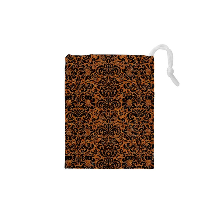 DAMASK2 BLACK MARBLE & RUSTED METAL Drawstring Pouches (XS)