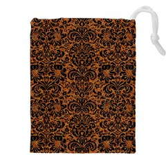 Damask2 Black Marble & Rusted Metal Drawstring Pouches (xxl)