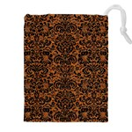 DAMASK2 BLACK MARBLE & RUSTED METAL Drawstring Pouches (XXL) Front