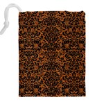 DAMASK2 BLACK MARBLE & RUSTED METAL Drawstring Pouches (XXL) Back
