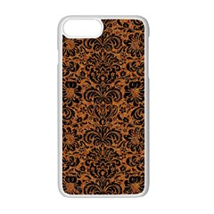Damask2 Black Marble & Rusted Metal Apple Iphone 7 Plus White Seamless Case