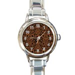 DAMASK2 BLACK MARBLE & RUSTED METAL (R) Round Italian Charm Watch Front