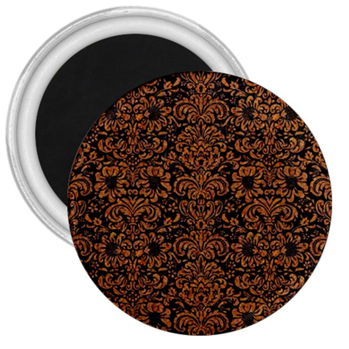 DAMASK2 BLACK MARBLE & RUSTED METAL (R) 3  Magnets