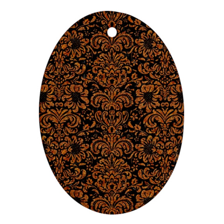DAMASK2 BLACK MARBLE & RUSTED METAL (R) Ornament (Oval)
