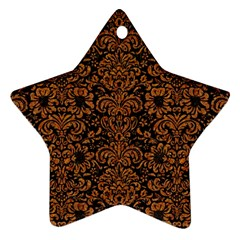 Damask2 Black Marble & Rusted Metal (r) Ornament (star)