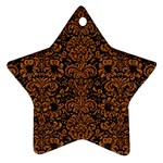 DAMASK2 BLACK MARBLE & RUSTED METAL (R) Ornament (Star) Front