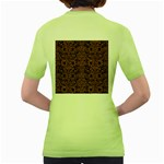 DAMASK2 BLACK MARBLE & RUSTED METAL (R) Women s Green T-Shirt Back