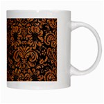 DAMASK2 BLACK MARBLE & RUSTED METAL (R) White Mugs Right
