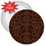 DAMASK2 BLACK MARBLE & RUSTED METAL (R) 3  Buttons (10 pack)  Front