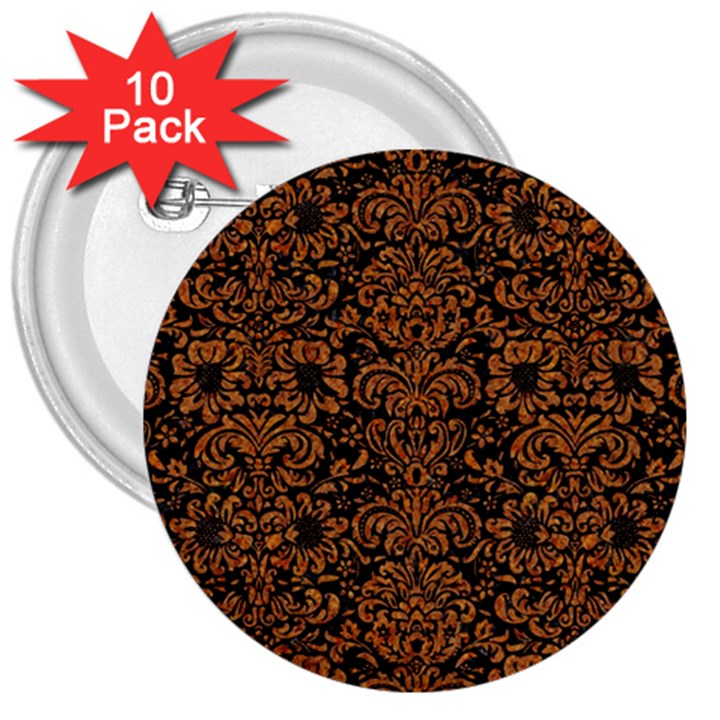 DAMASK2 BLACK MARBLE & RUSTED METAL (R) 3  Buttons (10 pack)