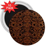 DAMASK2 BLACK MARBLE & RUSTED METAL (R) 3  Magnets (10 pack)  Front