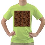 DAMASK2 BLACK MARBLE & RUSTED METAL (R) Green T-Shirt Front