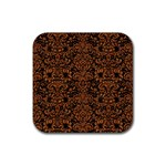 DAMASK2 BLACK MARBLE & RUSTED METAL (R) Rubber Coaster (Square)  Front