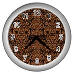 DAMASK2 BLACK MARBLE & RUSTED METAL (R) Wall Clocks (Silver)  Front