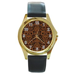 Damask2 Black Marble & Rusted Metal (r) Round Gold Metal Watch