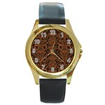 DAMASK2 BLACK MARBLE & RUSTED METAL (R) Round Gold Metal Watch Front