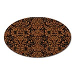 DAMASK2 BLACK MARBLE & RUSTED METAL (R) Oval Magnet Front