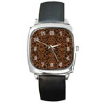 DAMASK2 BLACK MARBLE & RUSTED METAL (R) Square Metal Watch Front