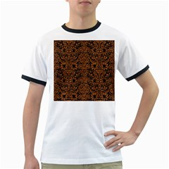 Damask2 Black Marble & Rusted Metal (r) Ringer T Shirts