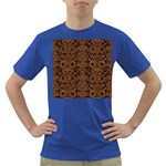 DAMASK2 BLACK MARBLE & RUSTED METAL (R) Dark T-Shirt Front