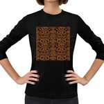 DAMASK2 BLACK MARBLE & RUSTED METAL (R) Women s Long Sleeve Dark T-Shirts Front