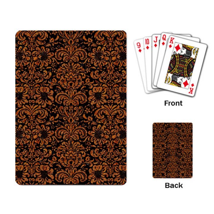 DAMASK2 BLACK MARBLE & RUSTED METAL (R) Playing Card