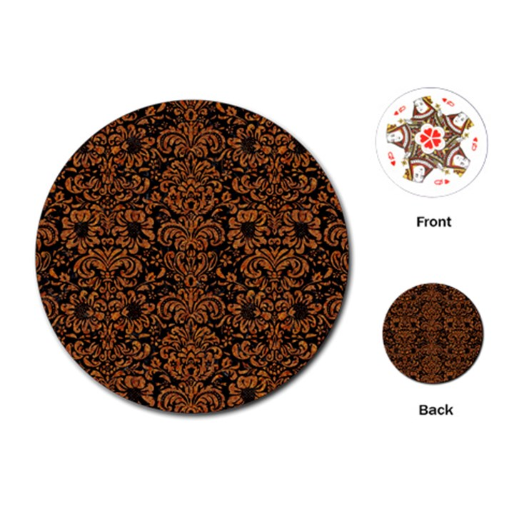 DAMASK2 BLACK MARBLE & RUSTED METAL (R) Playing Cards (Round)