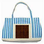 DAMASK2 BLACK MARBLE & RUSTED METAL (R) Striped Blue Tote Bag Front